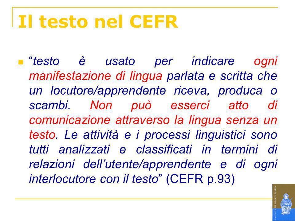 Il testo nel CEFR testo è usato per indicare ogni manifestazione di lingua parlata e scritta che un locutore/apprendente riceva, produca o scambi. Non