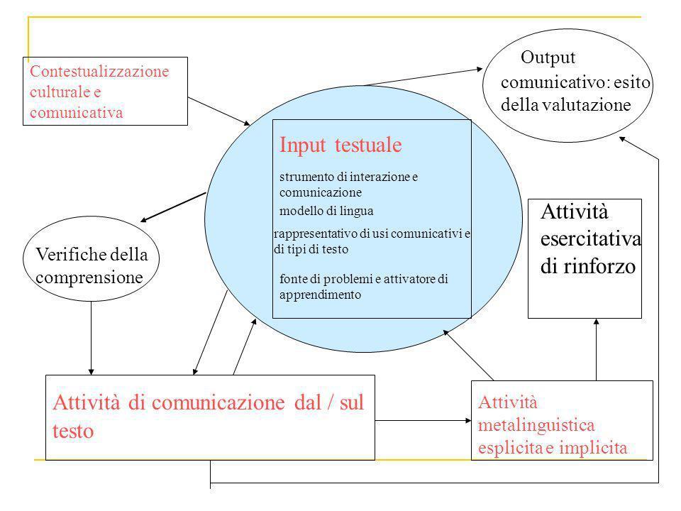 strumento di interazione e comunicazione Input testuale modello di lingua rappresentativo di usi comunicativi e di tipi di testo fonte di problemi e a
