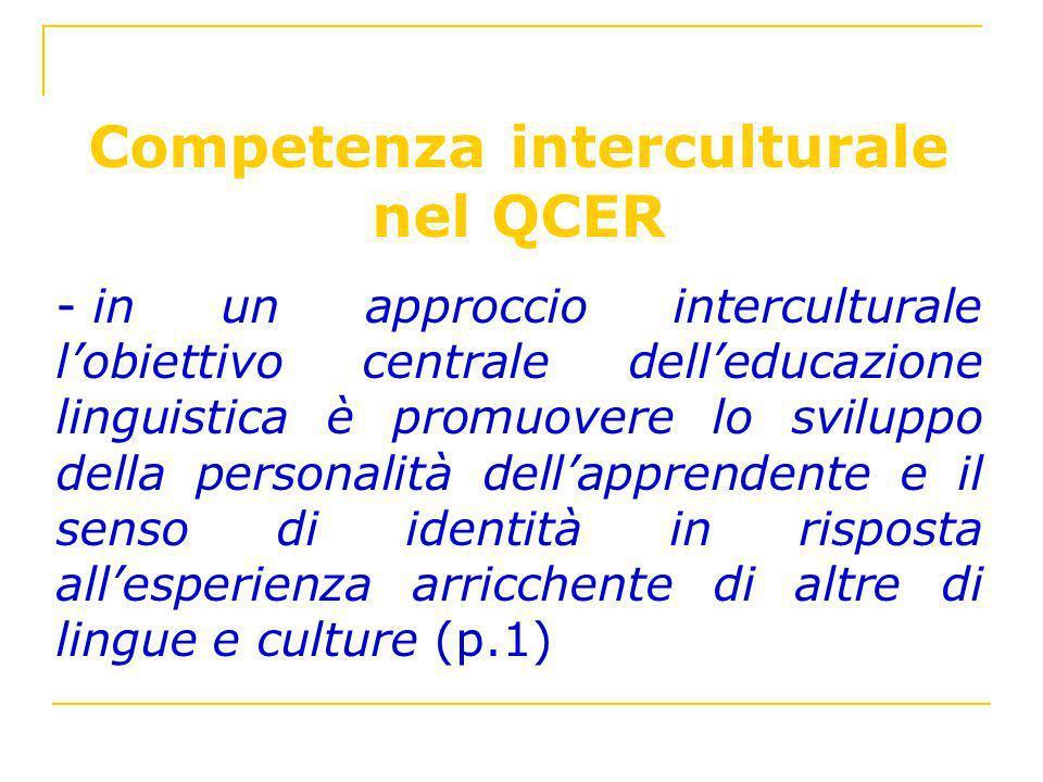 Competenza interculturale nel QCER - in un approccio interculturale lobiettivo centrale delleducazione linguistica è promuovere lo sviluppo della pers