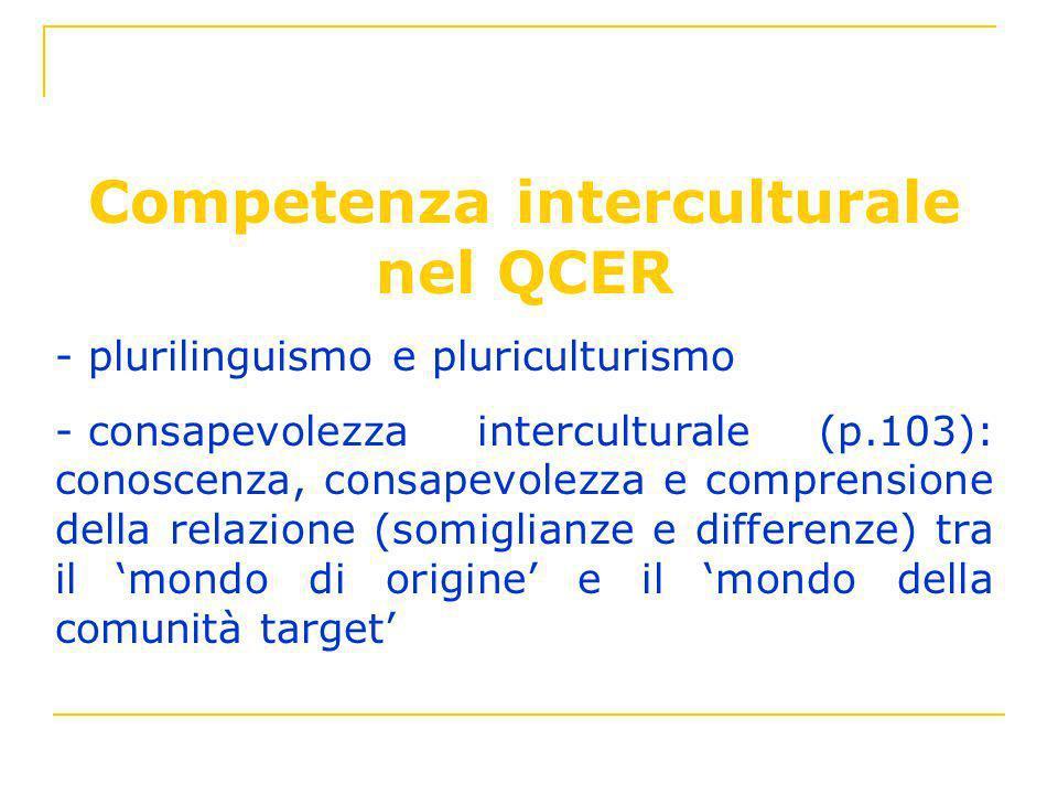 Competenza interculturale nel QCER - plurilinguismo e pluriculturismo - consapevolezza interculturale (p.103): conoscenza, consapevolezza e comprensio