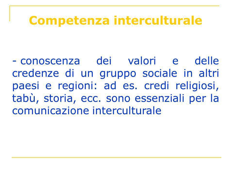 Competenza interculturale - conoscenza dei valori e delle credenze di un gruppo sociale in altri paesi e regioni: ad es. credi religiosi, tabù, storia