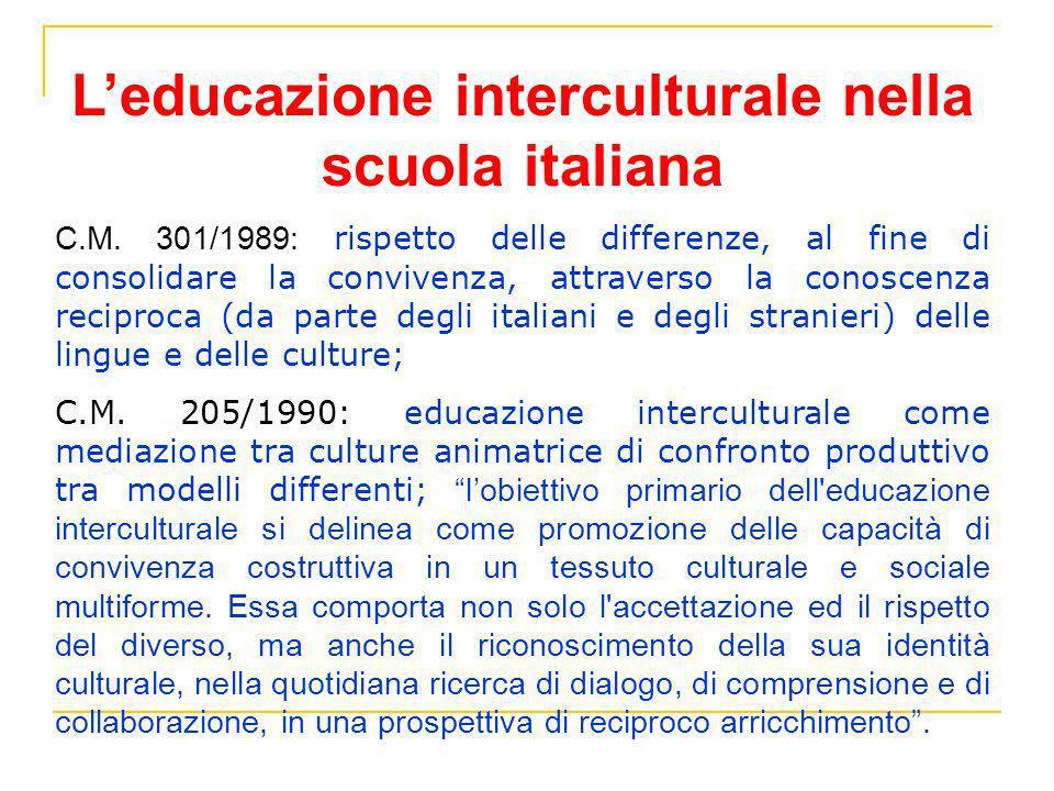 Leducazione interculturale nella scuola italiana C.M. 301/1989: rispetto delle differenze, al fine di consolidare la convivenza, attraverso la conosce