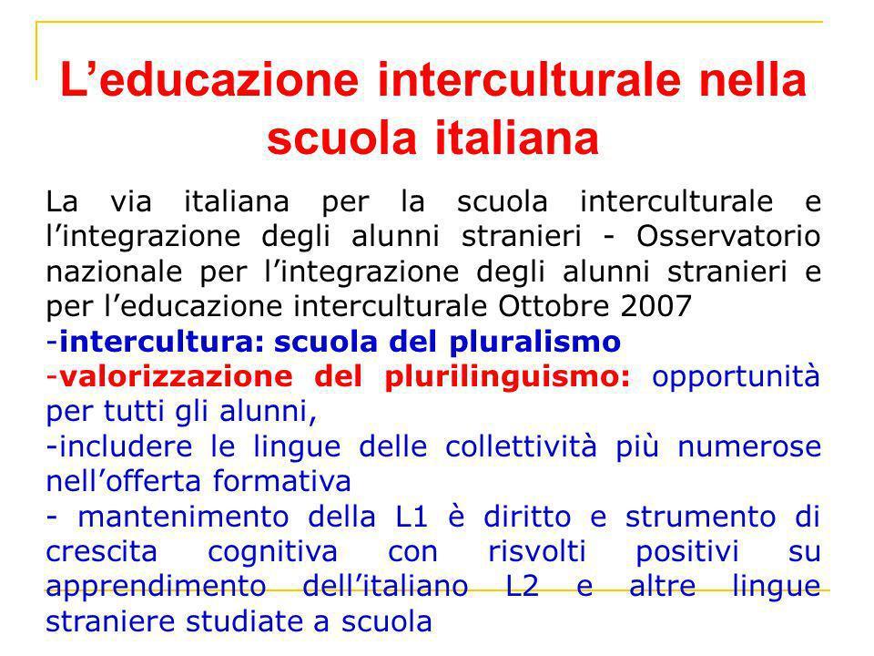 Leducazione interculturale nella scuola italiana La via italiana per la scuola interculturale e lintegrazione degli alunni stranieri - Osservatorio na