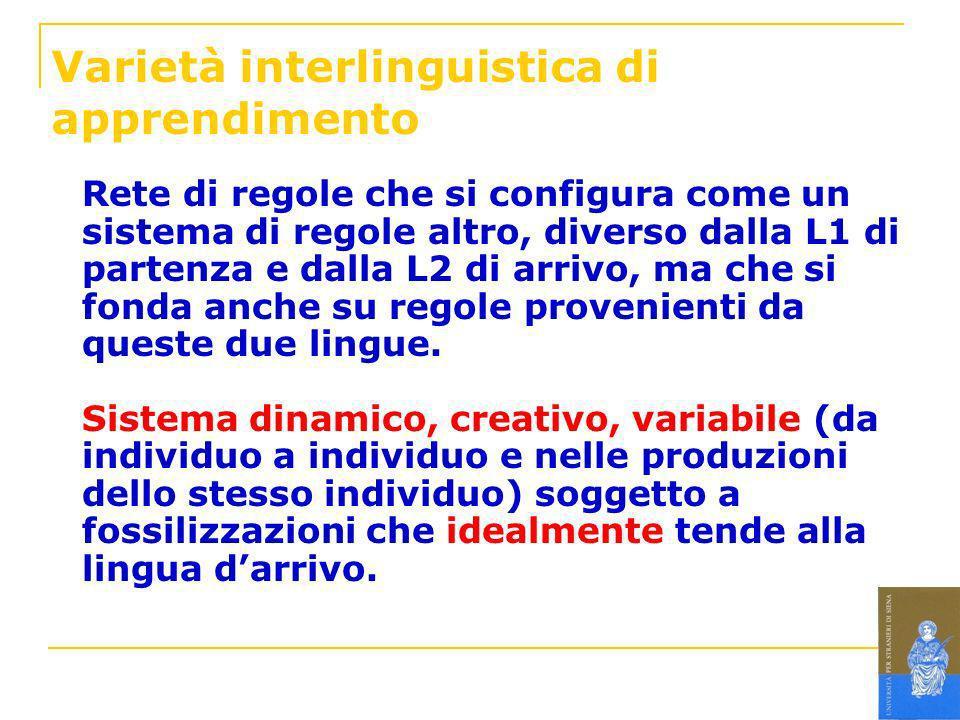 Varietà interlinguistica di apprendimento Rete di regole che si configura come un sistema di regole altro, diverso dalla L1 di partenza e dalla L2 di