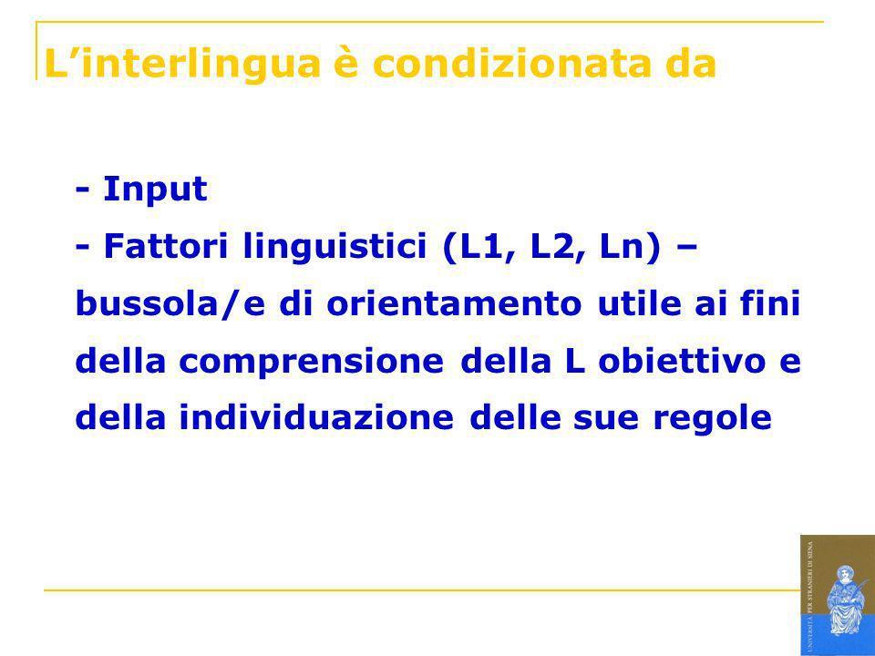 Linterlingua è condizionata da - Input - Fattori linguistici (L1, L2, Ln) – bussola/e di orientamento utile ai fini della comprensione della L obietti