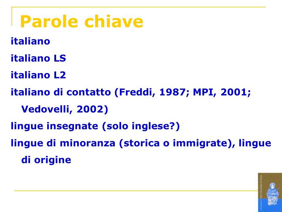 Parole chiave italiano italiano LS italiano L2 italiano di contatto (Freddi, 1987; MPI, 2001; Vedovelli, 2002) lingue insegnate (solo inglese?) lingue