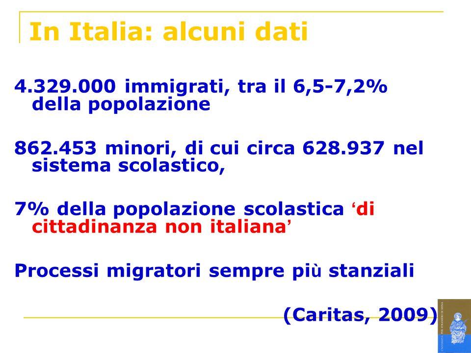 In Italia: alcuni dati 4.329.000 immigrati, tra il 6,5-7,2% della popolazione 862.453 minori, di cui circa 628.937 nel sistema scolastico, 7% della po