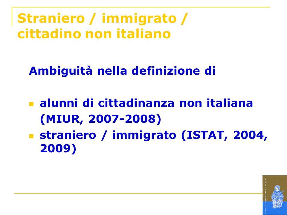 Straniero / immigrato / cittadino non italiano Ambiguità nella definizione di alunni di cittadinanza non italiana (MIUR, 2007-2008) straniero / immigr