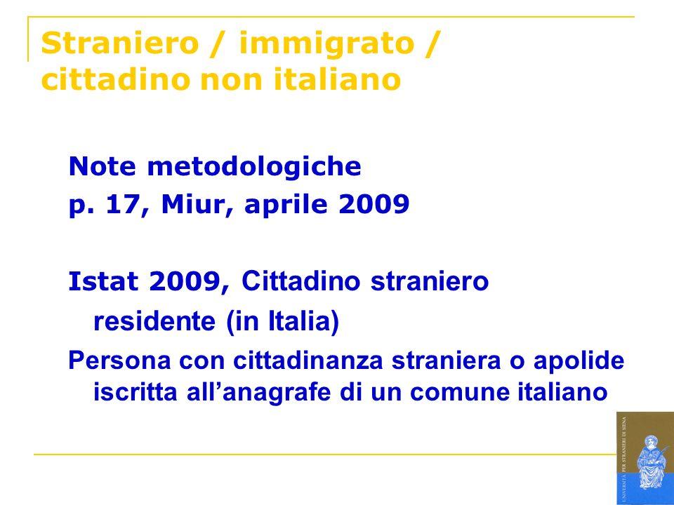 Straniero / immigrato / cittadino non italiano Note metodologiche p. 17, Miur, aprile 2009 Istat 2009, Cittadino straniero residente (in Italia) Perso