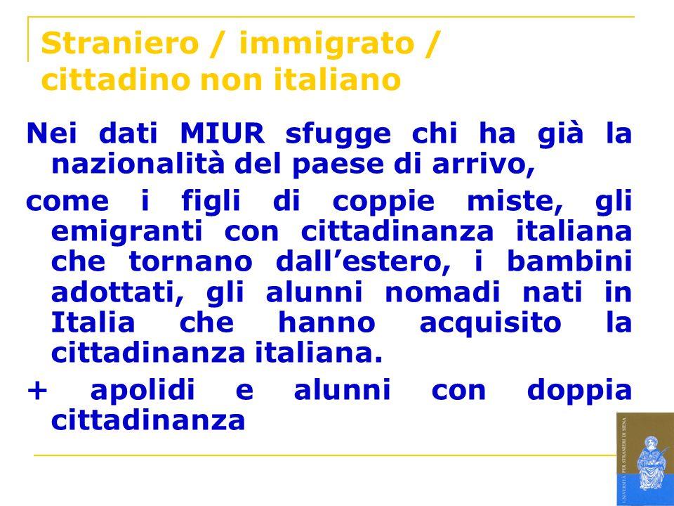 Straniero / immigrato / cittadino non italiano Nei dati MIUR sfugge chi ha già la nazionalità del paese di arrivo, come i figli di coppie miste, gli e