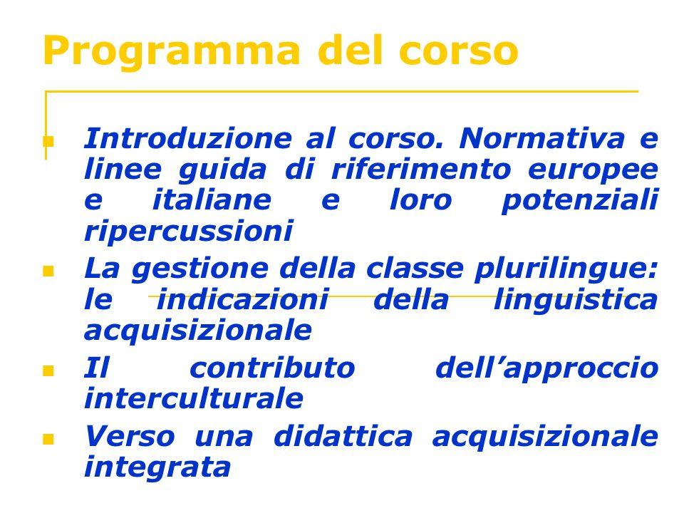 Programma del corso Introduzione al corso. Normativa e linee guida di riferimento europee e italiane e loro potenziali ripercussioni La gestione della