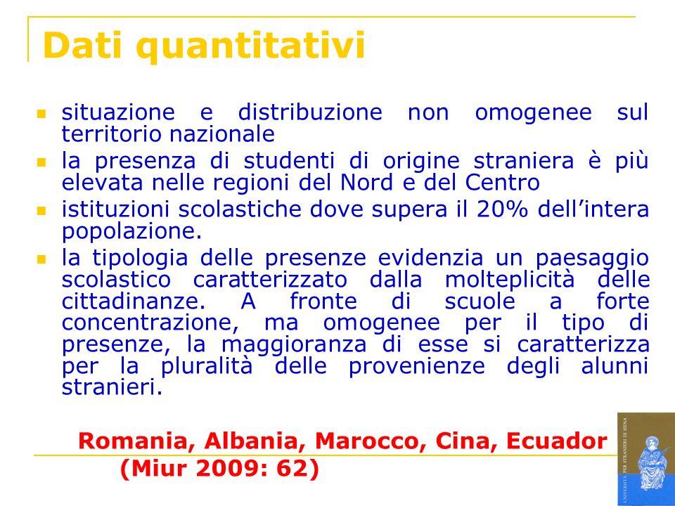 Dati quantitativi situazione e distribuzione non omogenee sul territorio nazionale la presenza di studenti di origine straniera è più elevata nelle re