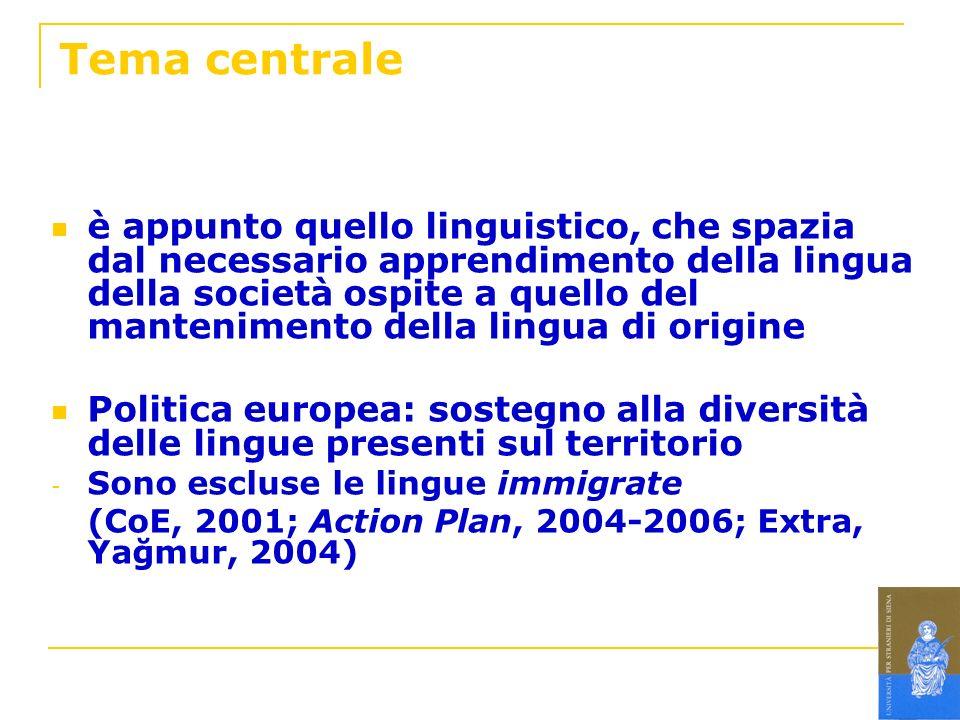 Tema centrale è appunto quello linguistico, che spazia dal necessario apprendimento della lingua della società ospite a quello del mantenimento della