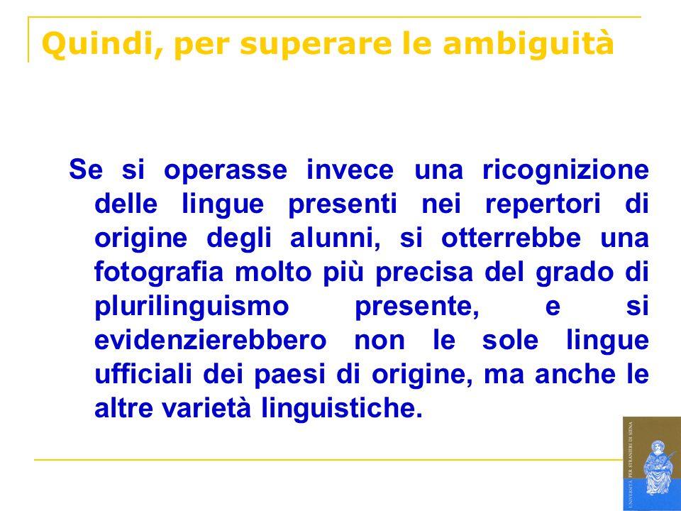 Quindi, per superare le ambiguità Se si operasse invece una ricognizione delle lingue presenti nei repertori di origine degli alunni, si otterrebbe un