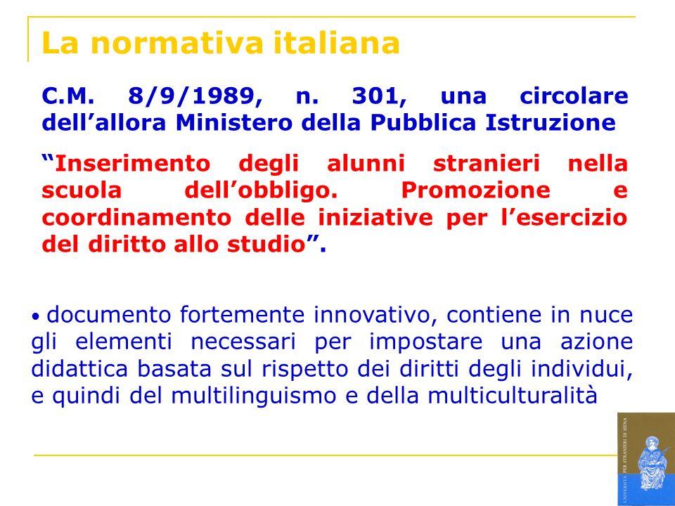 La normativa italiana C.M. 8/9/1989, n. 301, una circolare dellallora Ministero della Pubblica Istruzione Inserimento degli alunni stranieri nella scu