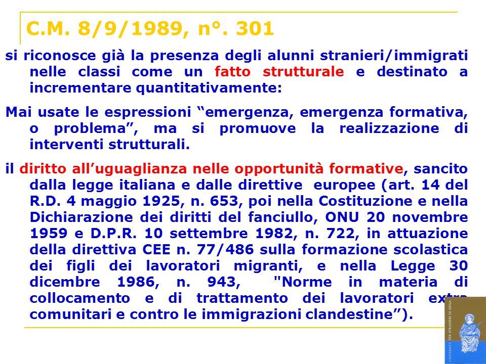 C.M. 8/9/1989, n°. 301 si riconosce già la presenza degli alunni stranieri/immigrati nelle classi come un fatto strutturale e destinato a incrementare