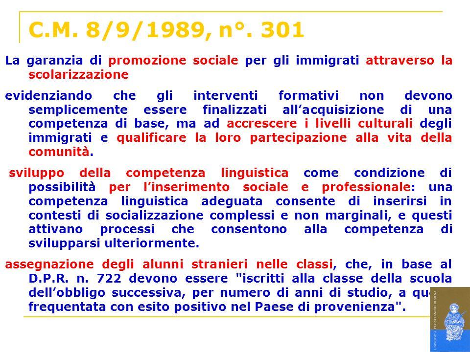 C.M. 8/9/1989, n°. 301 La garanzia di promozione sociale per gli immigrati attraverso la scolarizzazione evidenziando che gli interventi formativi non