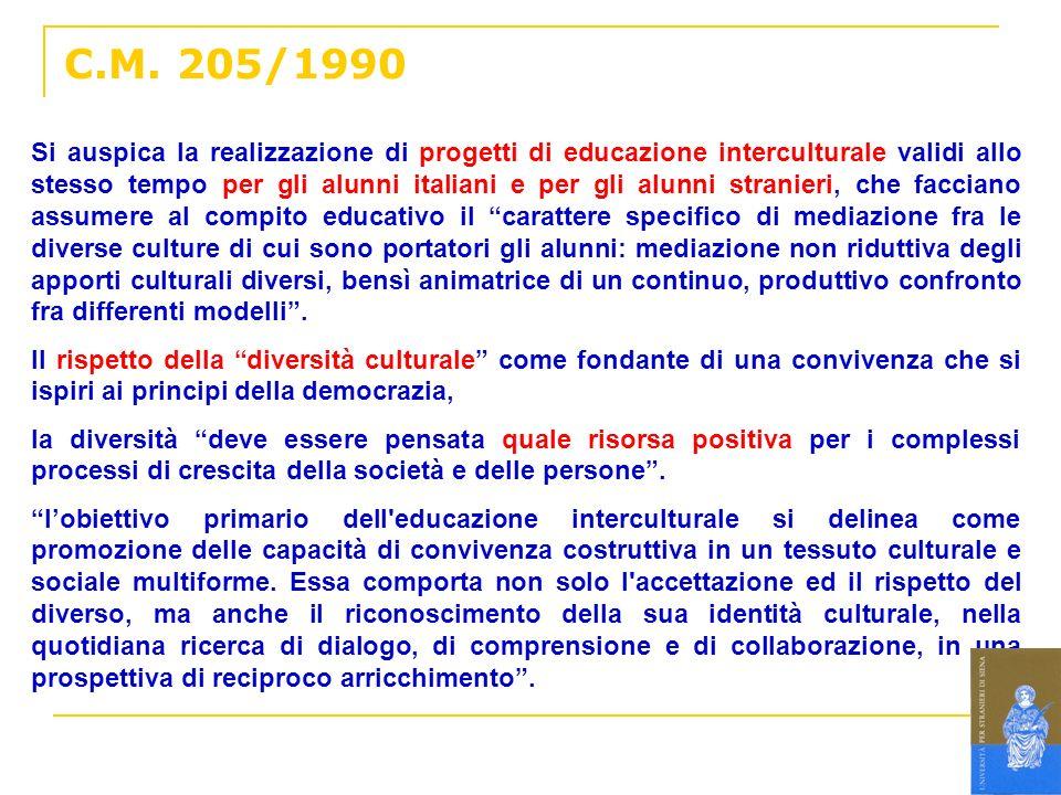 C.M. 205/1990 Si auspica la realizzazione di progetti di educazione interculturale validi allo stesso tempo per gli alunni italiani e per gli alunni s