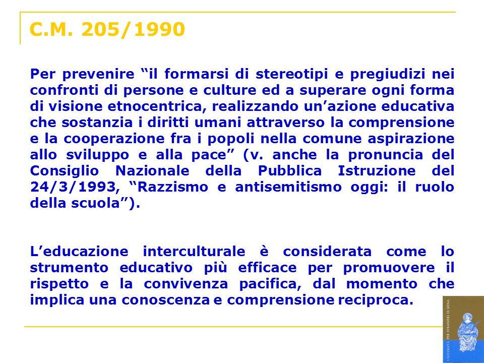 C.M. 205/1990 Per prevenire il formarsi di stereotipi e pregiudizi nei confronti di persone e culture ed a superare ogni forma di visione etnocentrica