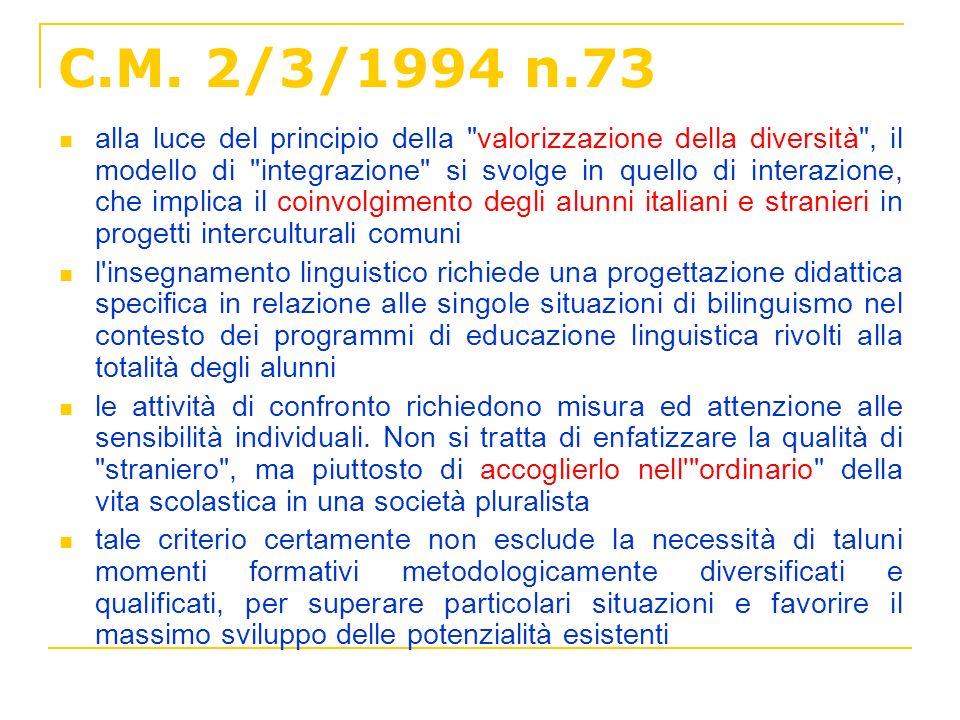 C.M. 2/3/1994 n.73 alla luce del principio della