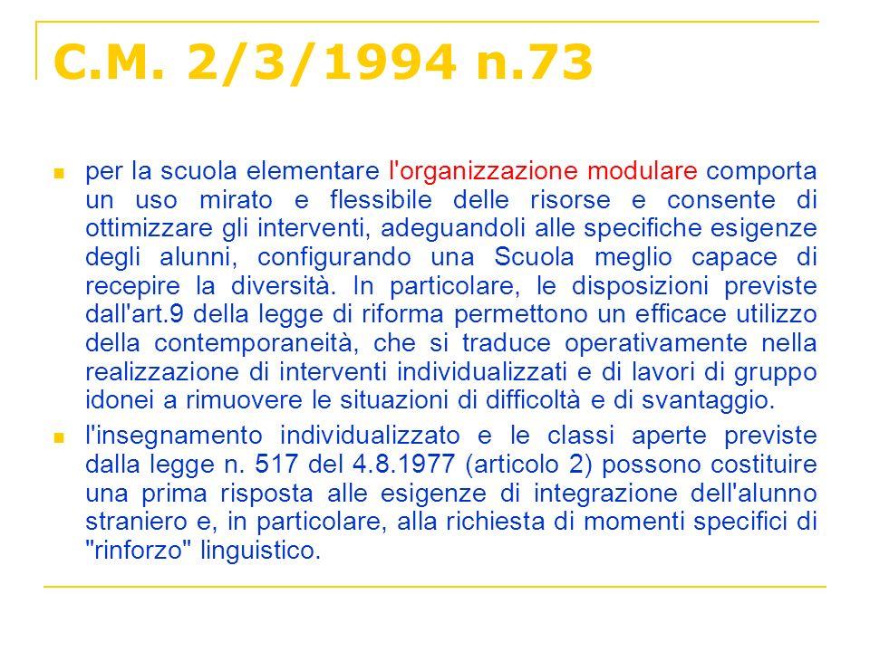 C.M. 2/3/1994 n.73 per la scuola elementare l'organizzazione modulare comporta un uso mirato e flessibile delle risorse e consente di ottimizzare gli