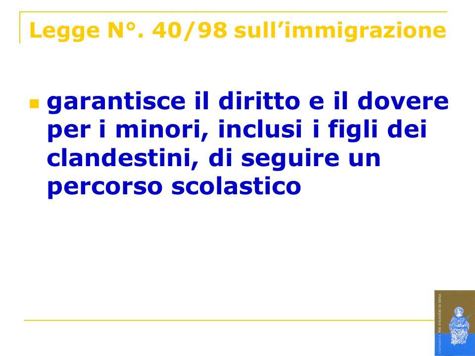 Legge N°. 40/98 sullimmigrazione garantisce il diritto e il dovere per i minori, inclusi i figli dei clandestini, di seguire un percorso scolastico