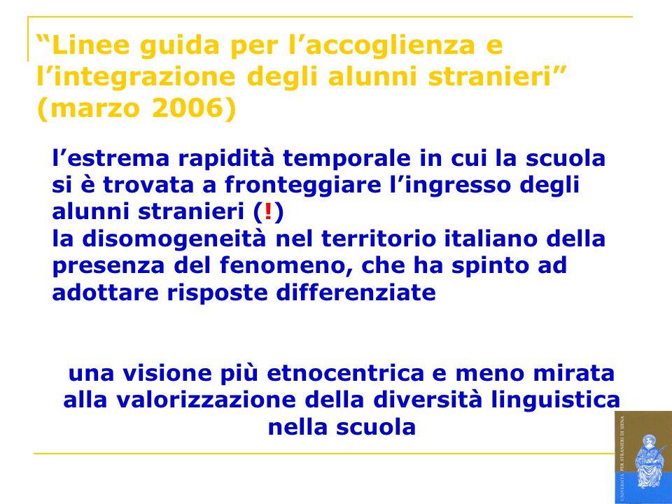 Linee guida per laccoglienza e lintegrazione degli alunni stranieri (marzo 2006) lestrema rapidità temporale in cui la scuola si è trovata a fronteggi