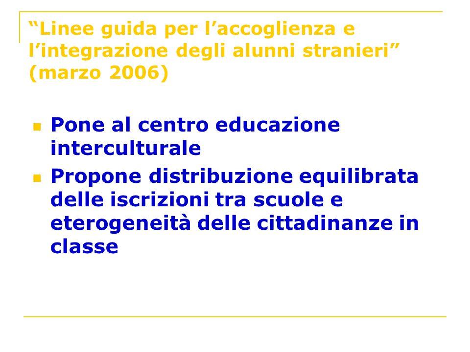 Linee guida per laccoglienza e lintegrazione degli alunni stranieri (marzo 2006) Pone al centro educazione interculturale Propone distribuzione equili