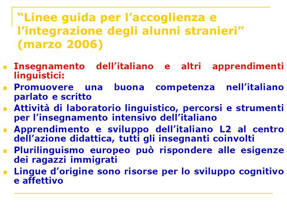 Linee guida per laccoglienza e lintegrazione degli alunni stranieri (marzo 2006) Insegnamento dellitaliano e altri apprendimenti linguistici: Promuove