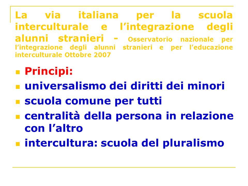 La via italiana per la scuola interculturale e lintegrazione degli alunni stranieri - Osservatorio nazionale per lintegrazione degli alunni stranieri