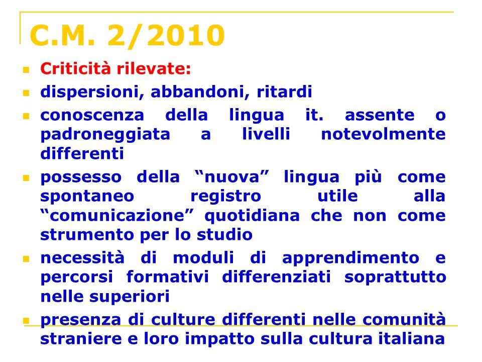 C.M. 2/2010 Criticità rilevate: dispersioni, abbandoni, ritardi conoscenza della lingua it. assente o padroneggiata a livelli notevolmente differenti