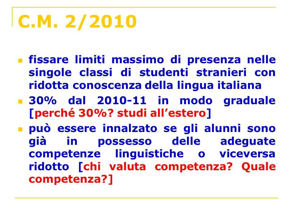 C.M. 2/2010 fissare limiti massimo di presenza nelle singole classi di studenti stranieri con ridotta conoscenza della lingua italiana 30% dal 2010-11