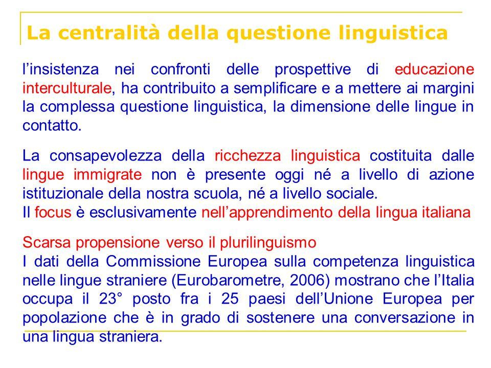 La centralità della questione linguistica linsistenza nei confronti delle prospettive di educazione interculturale, ha contribuito a semplificare e a
