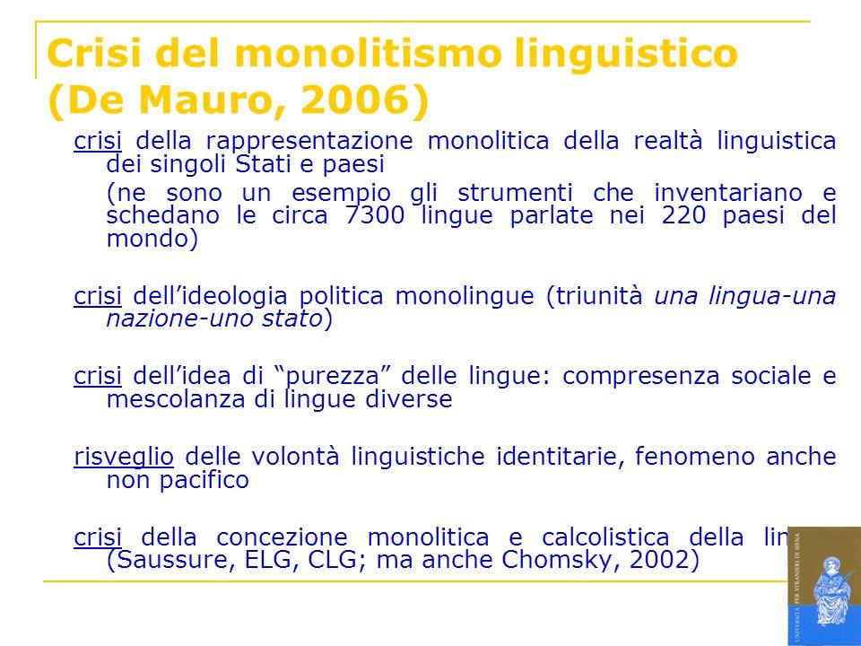 Crisi del monolitismo linguistico (De Mauro, 2006) crisi della rappresentazione monolitica della realtà linguistica dei singoli Stati e paesi (ne sono