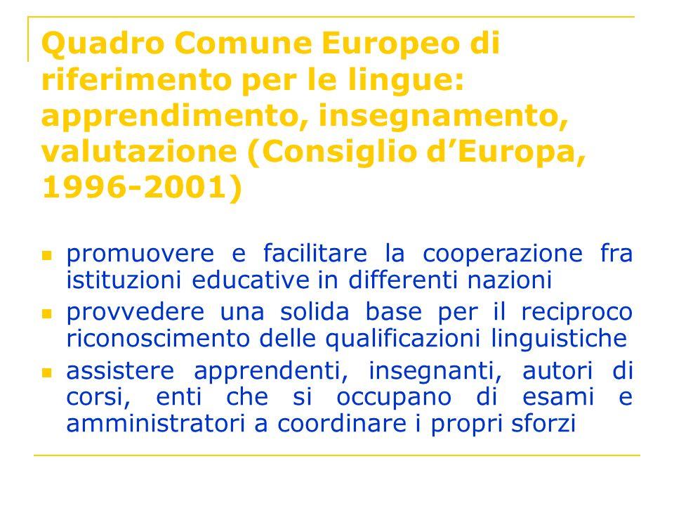 Quadro Comune Europeo di riferimento per le lingue: apprendimento, insegnamento, valutazione (Consiglio dEuropa, 1996-2001) promuovere e facilitare la