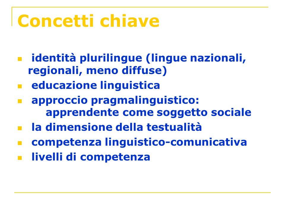 Concetti chiave identità plurilingue (lingue nazionali, regionali, meno diffuse) educazione linguistica approccio pragmalinguistico: apprendente come