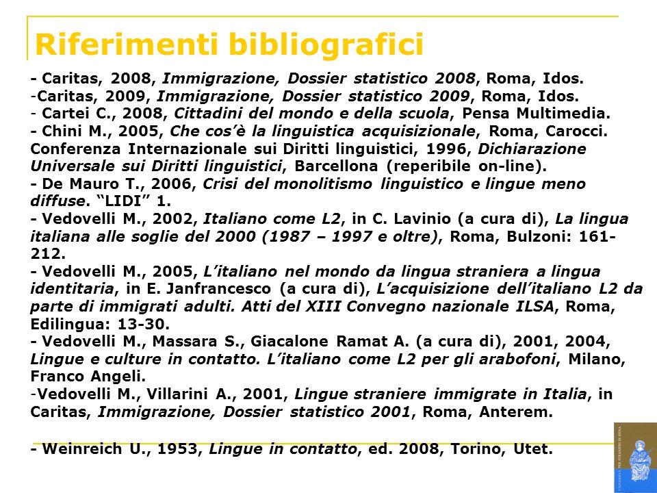 Riferimenti bibliografici - Caritas, 2008, Immigrazione, Dossier statistico 2008, Roma, Idos. -Caritas, 2009, Immigrazione, Dossier statistico 2009, R