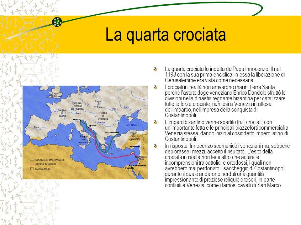 La quarta crociata La quarta crociata fu indetta da Papa Innocenzo III nel 1198 con la sua prima enciclica: in essa la liberazione di Gerusalemme era