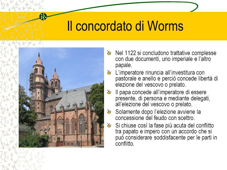 Il concordato di Worms Nel 1122 si concludono trattative complesse con due documenti, uno imperiale e laltro papale. Limperatore rinuncia allinvestitu