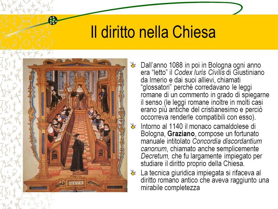 Il diritto nella Chiesa Dallanno 1088 in poi in Bologna ogni anno era letto il Codex Iuris Civilis di Giustiniano da Irnerio e dai suoi allievi, chiam