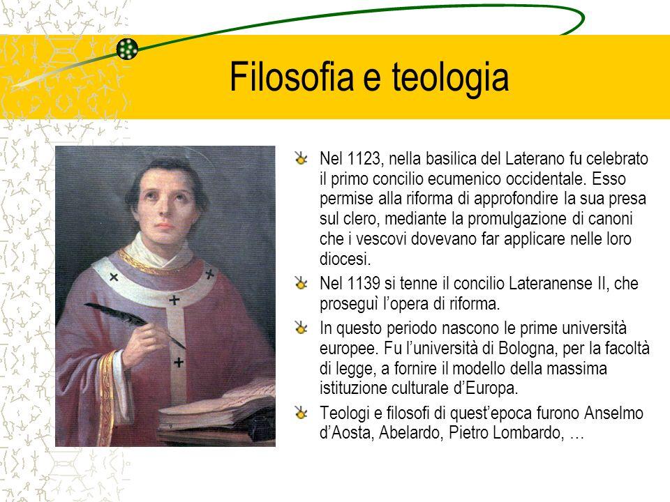 Filosofia e teologia Nel 1123, nella basilica del Laterano fu celebrato il primo concilio ecumenico occidentale. Esso permise alla riforma di approfon