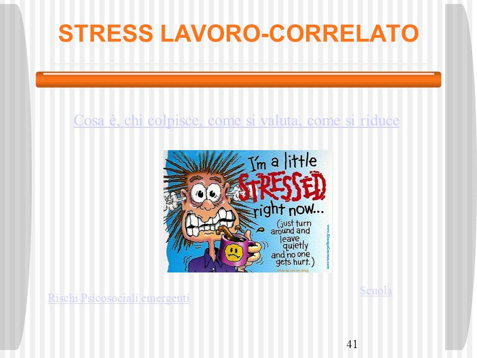 STRESS LAVORO-CORRELATO 41 Rischi Psicosociali emergenti Scuola Cosa è, chi colpisce, come si valuta, come si riduce