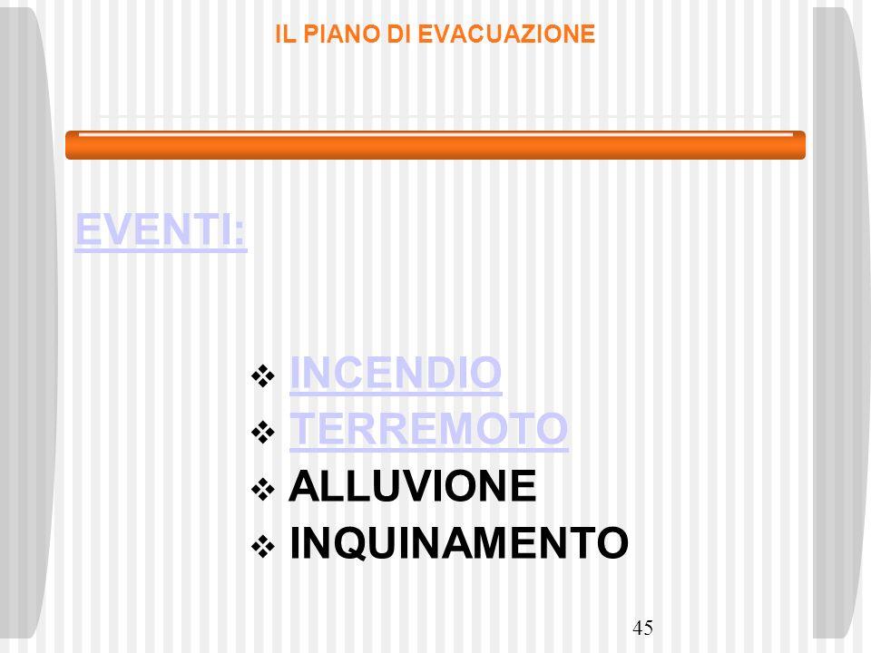 45 IL PIANO DI EVACUAZIONE EVENTI: INCENDIO TERREMOTO ALLUVIONE INQUINAMENTO
