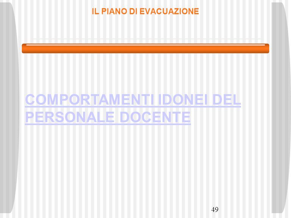 49 IL PIANO DI EVACUAZIONE COMPORTAMENTI IDONEI DEL PERSONALE DOCENTE