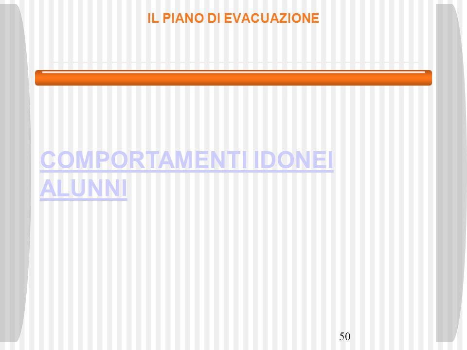 50 IL PIANO DI EVACUAZIONE COMPORTAMENTI IDONEI ALUNNI