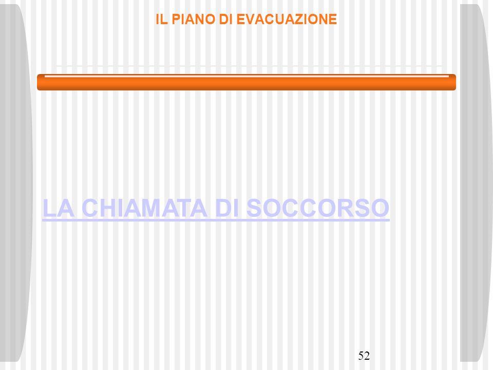 52 IL PIANO DI EVACUAZIONE LA CHIAMATA DI SOCCORSO
