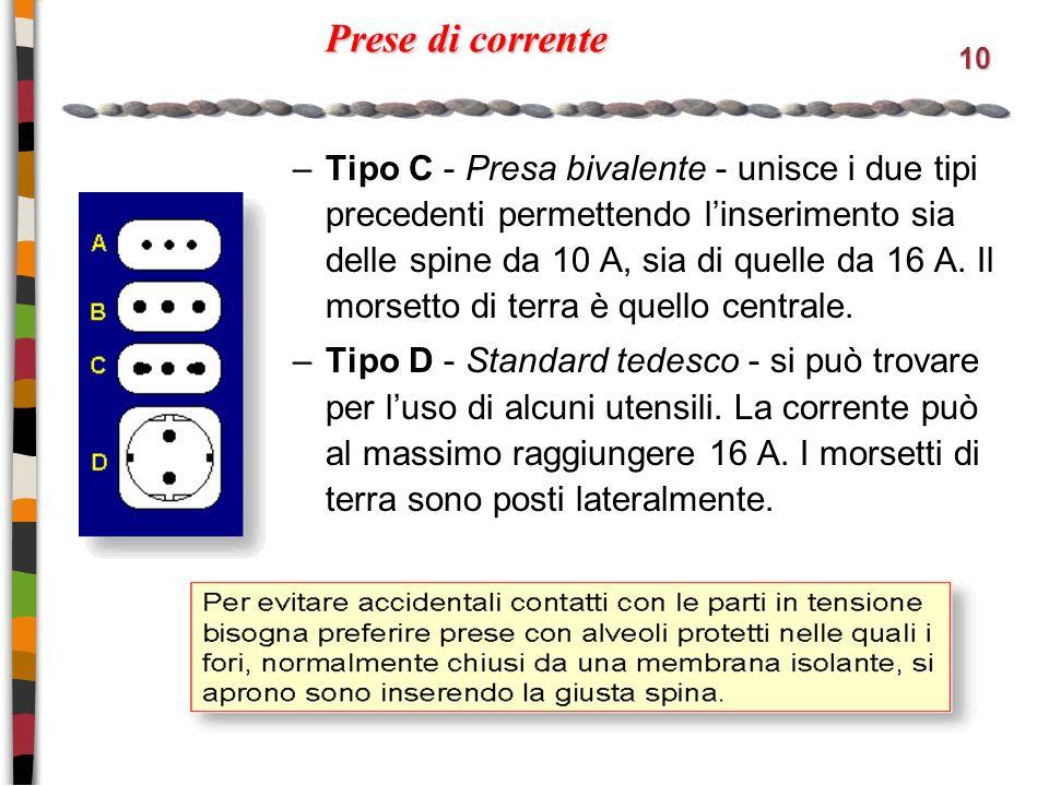 10 Prese di corrente –Tipo C - Presa bivalente - unisce i due tipi precedenti permettendo linserimento sia delle spine da 10 A, sia di quelle da 16 A.