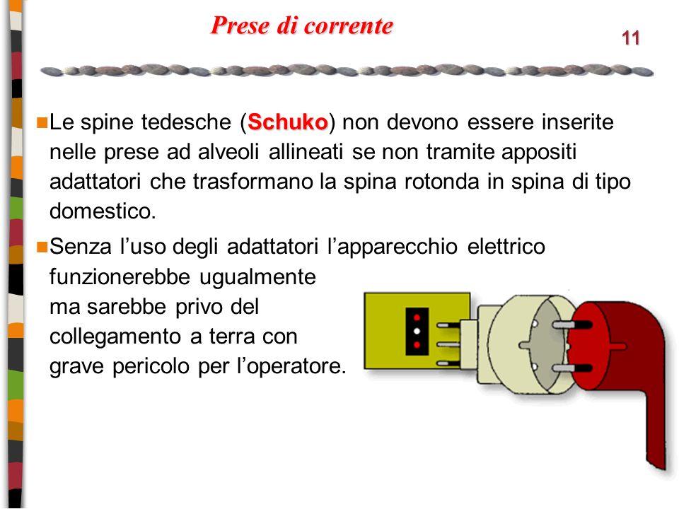 11 Prese di corrente Schuko Le spine tedesche (Schuko) non devono essere inserite nelle prese ad alveoli allineati se non tramite appositi adattatori che trasformano la spina rotonda in spina di tipo domestico.