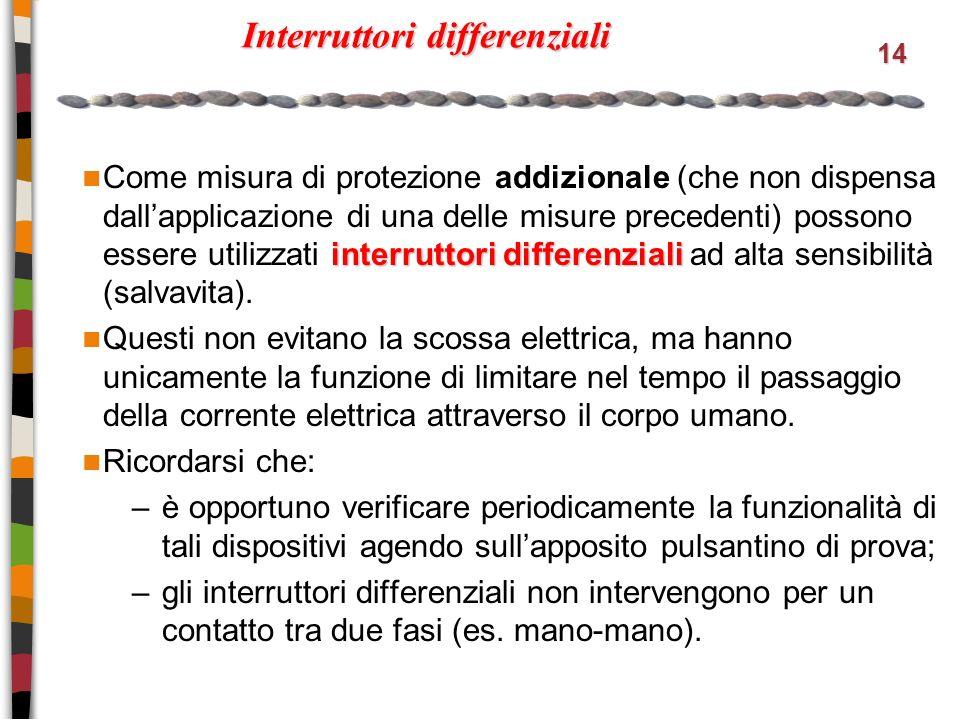 14 Interruttori differenziali interruttori differenziali Come misura di protezione addizionale (che non dispensa dallapplicazione di una delle misure precedenti) possono essere utilizzati interruttori differenziali ad alta sensibilità (salvavita).