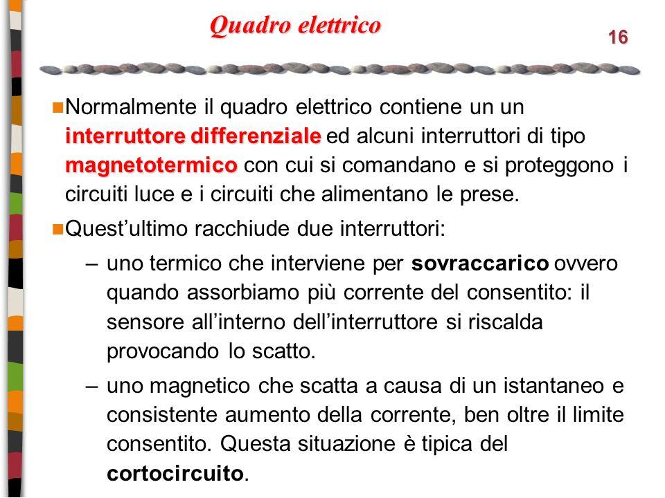 16 Quadro elettrico interruttore differenziale magnetotermico Normalmente il quadro elettrico contiene un un interruttore differenziale ed alcuni interruttori di tipo magnetotermico con cui si comandano e si proteggono i circuiti luce e i circuiti che alimentano le prese.